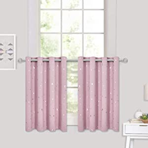 RYB HOME Kids Curtains for Girls - Bedroom Decor Star Printed Curtains Valances for Thermal Insulate Energy Saving Room Darkening Small Window Panels, Pink, Wide 52 x Long 36 inch, 2 Pcs