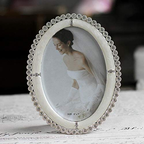Golden Store129 Vintage Oval Picture Frame 5x7 inches Shiny Silver Plating Pearl White Enameled and Clear Rhinestones Jeweled
