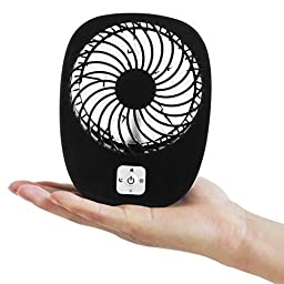 LP Mini USB Output Electric Fan Compact Easy To Carry for the Office , Home , Dorm , Study , Library , Games Room Outdoor Travel , Keep You Cool and Relaxed (Black)