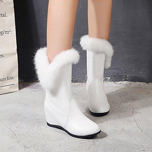 Faux White Chic Mee Short Inside Slip Shoes On Fur Women's Boots Heel 0qqRT7