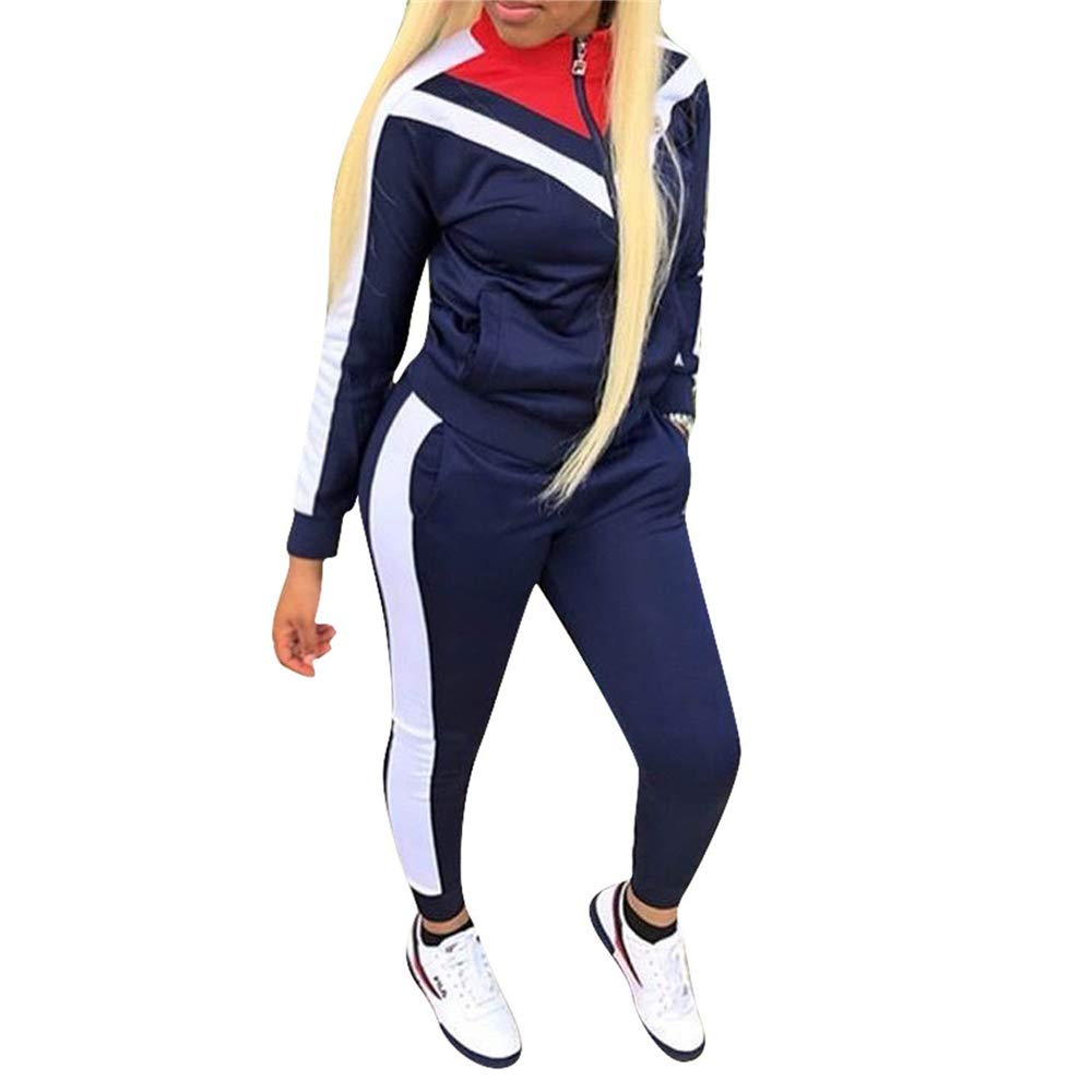 Navy 1 XLarge ALING 2 Piece Outfits for Women Tracksuits Striped Zipper Jacket Sweatpants Sweatsuits Set