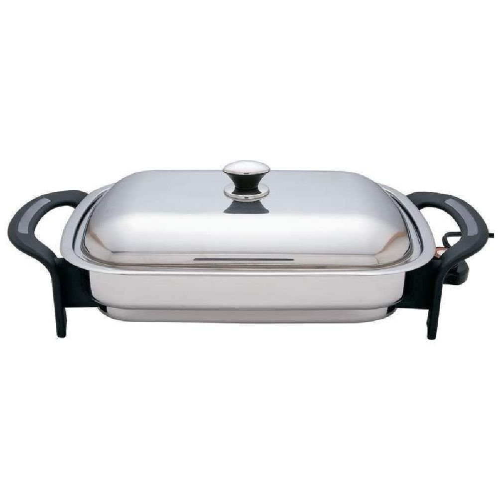 """Precise Heat 16"""" Rectangular T304 Stainless Steel Electric Skillet/Fry Pan"""