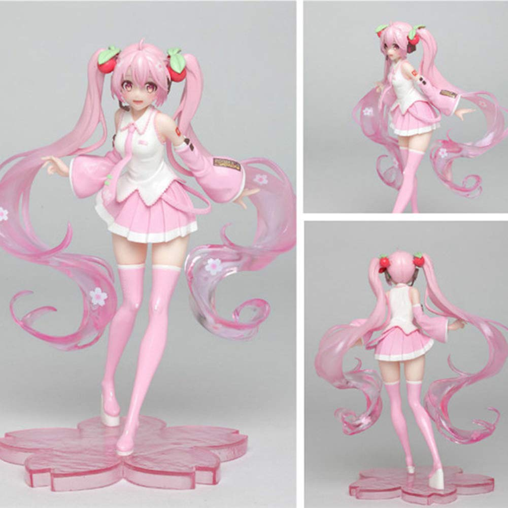 Figure Statues PVC PinkHaired Girl Model Doll Action Collection for Hobby 19 cm   7.5 inch