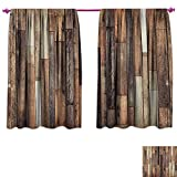 loft bedroom ideas homefeel Wooden Window Curtain Drape Brown Old Hardwood Floor Plank Grunge Lodge Garage Loft Natural Rural Graphic Artsy Print Blackout Draperies for Bedroom W55 x L63 Brown