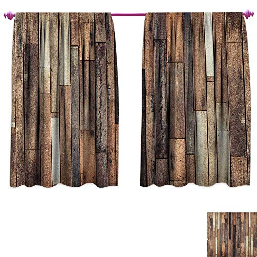 homefeel Wooden Window Curtain Drape Brown Old Hardwood Floor Plank Grunge Lodge Garage Loft Natural Rural Graphic Artsy Print Blackout Draperies for Bedroom W55 x L63 Brown