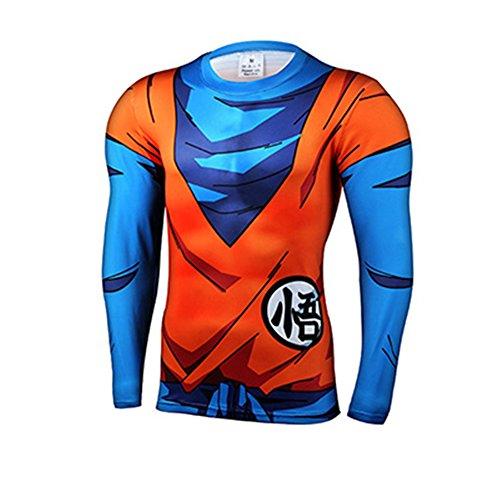 [Cartoon Dragon Ball Son Goku Budo Costume Cosplay Quick-dry Slim Fit 3D Shirt (Asian-2XL)] (Goku Costume Women)