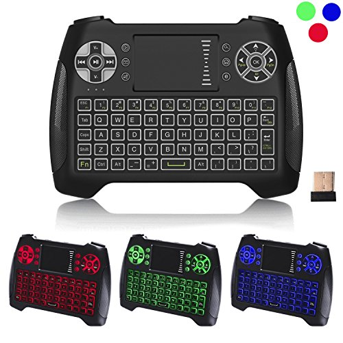Mini Wireless Keyboard Remote Control Touchpad,RC-T16,LED Backlit 2.4Ghz USB Rechargable Gaming Handheld Design Air Mouse Remote For Android TV Box Kodi Box PC PAD XBOX PS3 PS4 HTPC Raspberry Pi 3 2