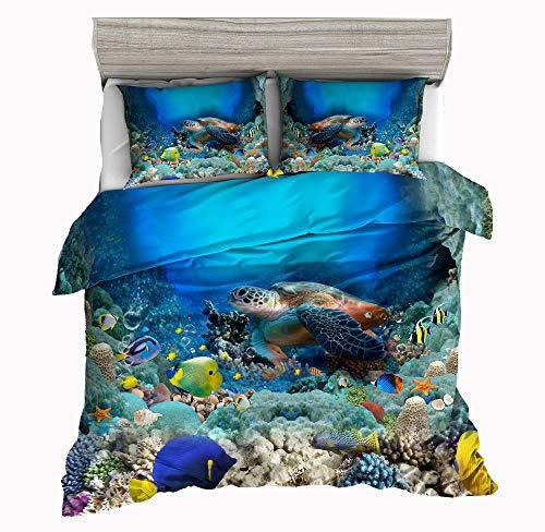 Jwellking 3D Turtle Bedding Sets Cover for Duvet Kids,3 Piece Twin Size Duvet Cover Set 1 Duvet Cover+2 Turtle Pillow Shams.No Comforter Inside -