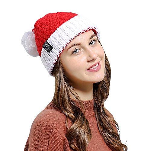 Santa Hat, Unisex Winter Knitted Festive Parties Crochet Beanie Christmas Santa Claus Wool Hat ()