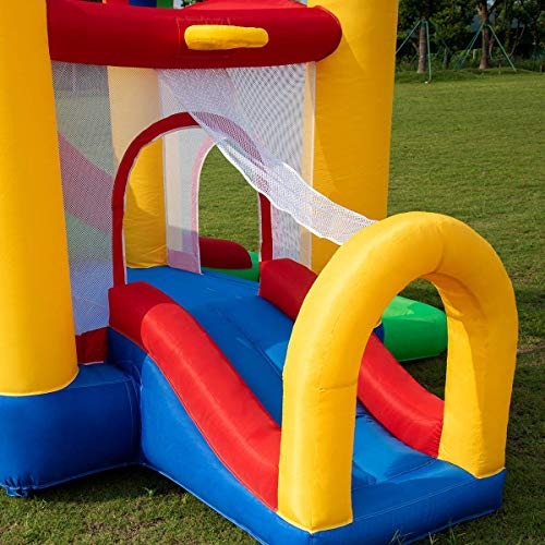 Costzon Inflatable Bounce House, Mighty Balloon Double Slide Bouncer with Basketball Hoop, Climbing Wall, Large Jumping Area, Ideal Kids Jumper (Without Blower) by Costzon (Image #3)