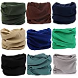 KALILY 9PCS Headband Bandana - Versatile SOLID Sports & Casual Headwear –Multifunctional Seamless Neck Gaiter, Headwrap, Balaclava, Helmet Liner, Face Mask for Camping, Running, Cycling, Fishing etc