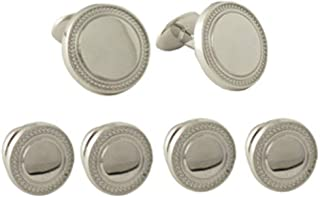 product image for David Donahue Men's Sterling Silver Round Textured Border Stud Set (SS904302)