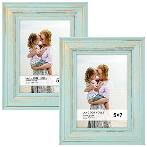 Langdons 5x7 Real Wood Picture Frames (2 Pack, Eggshell Blue - Gold Accents), Wooden Photo Frame 5 x 7, Wall Mount or Table Top, Set of 2 Lumina Collection