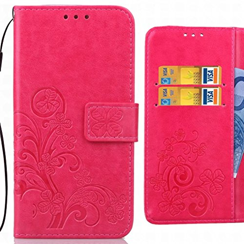 Sony Xperia L2 Covers Housing Ougger Pu Leather Wallet Leaves Luck Magnetic Silicone Tpu Skin Protective Flip Cover Housing Cover L2 By Sony Xperia Card Slot (purple) Pink