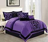 Black and Purple Comforter Sets Queen Empire Home Donna 14 Piece Comforter Bed in A Bag Set - Over Sized (Purple & Black, Queen)