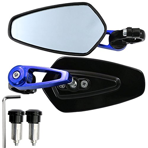 Jisoncase Motorcycle Side Mirrors, 7/8'' Aluminum alloy Sports Handlebar Rearview with 22mm Bar End Mount Fix for Yamaha, Suzuki, Honda and More (Blue)