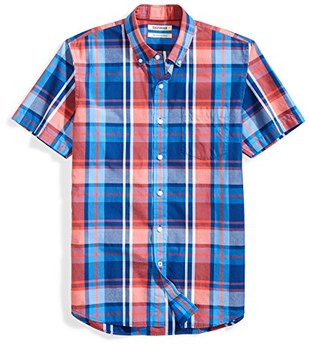 Amazon Brand - Goodthreads Men's Slim-Fit Short-Sleeve Plaid Poplin Shirt