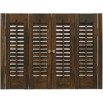 Interior shutter kits 1 1 4 louver bass wood stain finish walnut 31 33 w x 20 - Plantation shutters kits ...