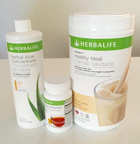 Herbalife Aloe Tea Shake Kit - Herbal Aloe Mango, Herbal Tea Concentrate, Formula 1 Vanilla shake by Herbalife