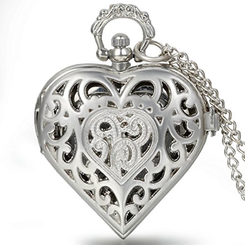 JewelryWe Mother's Day Gift Silver Tone Heart Shape Pocket Watch Quartz Hollow Pendant Necklace 34 Inches Chain