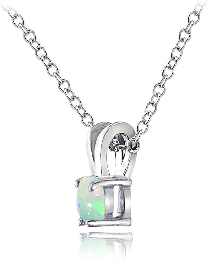 Glitzs Jewels Sterling Silver Ethiopian Opal Round Solitaire Necklace 5MM