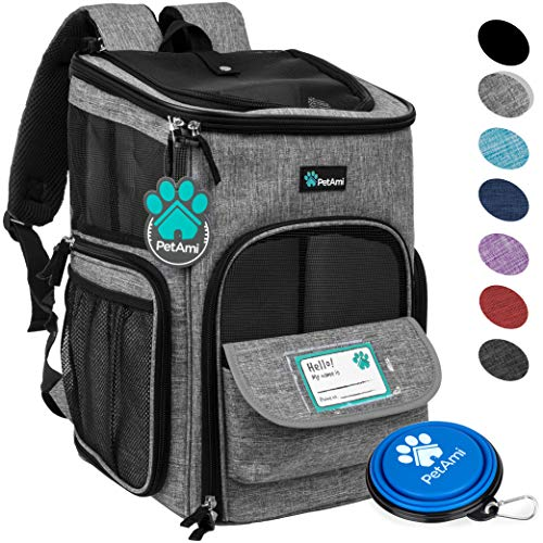 PetAmi Pet Carrier Backpack for Small Cats, Dogs, Puppies | Ventilated Structured Frame, 4 Way Entry, Safety and Soft Cushion Back Support | Collapsible for Travel, Hiking, Outdoor (Heather Gray)