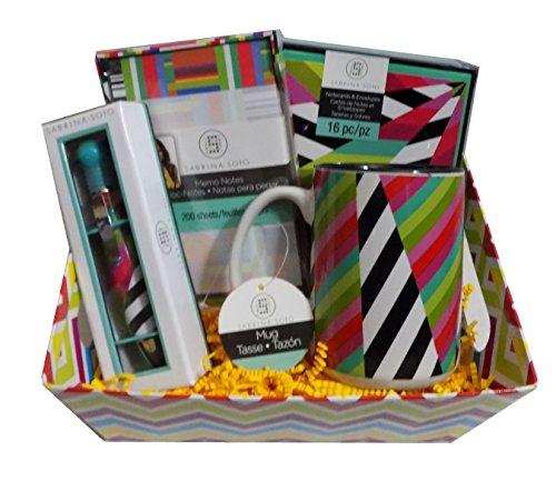 Sabrina Soto Home Design Gift Basket - Mug, Memo Notes, Notecards, and Pen - Ideal for Hostess, Thank you or Teacher Gift!