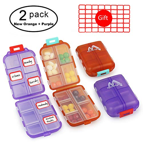Muchengbao 2Pack Travel Pill Organizer, Pocket Pill Box Pill case for Purse Vitamin Fish Oil 10 Compartments Container Medicine Box (New Orange + Purple) from M MUCHENGBAO