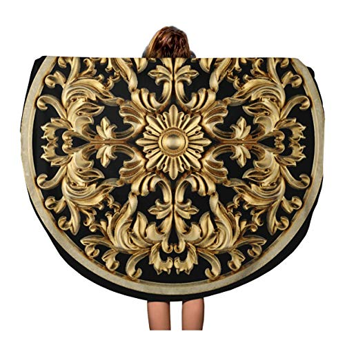Semtomn 60 Inches Round Beach Towel Blanket Baroque 3D Rendering Stucco Molding Ceiling Rosette Antique Black Travel Circle Circular Towels Mat Tapestry Beach Throw ()