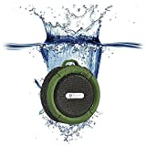 Qadira C-6 Portable Outdoor and Shower Bluetooth Speaker with Mic/Suction Cup/5W Audio Driver/Built-in Battery-Army Green
