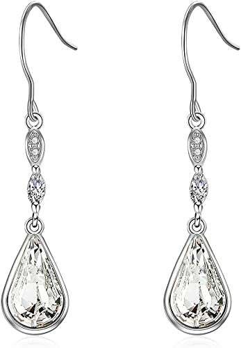 New 9K Yellow Gold Filled Champagne CZ Pear Shaped Tear Drop Dangle Earrings