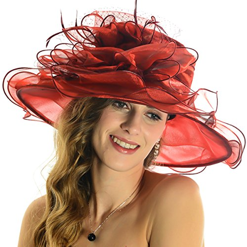 Women Floral Wide Brim Church Derby Kentucky Dress Hat (4 Colors) (S042-Claret)