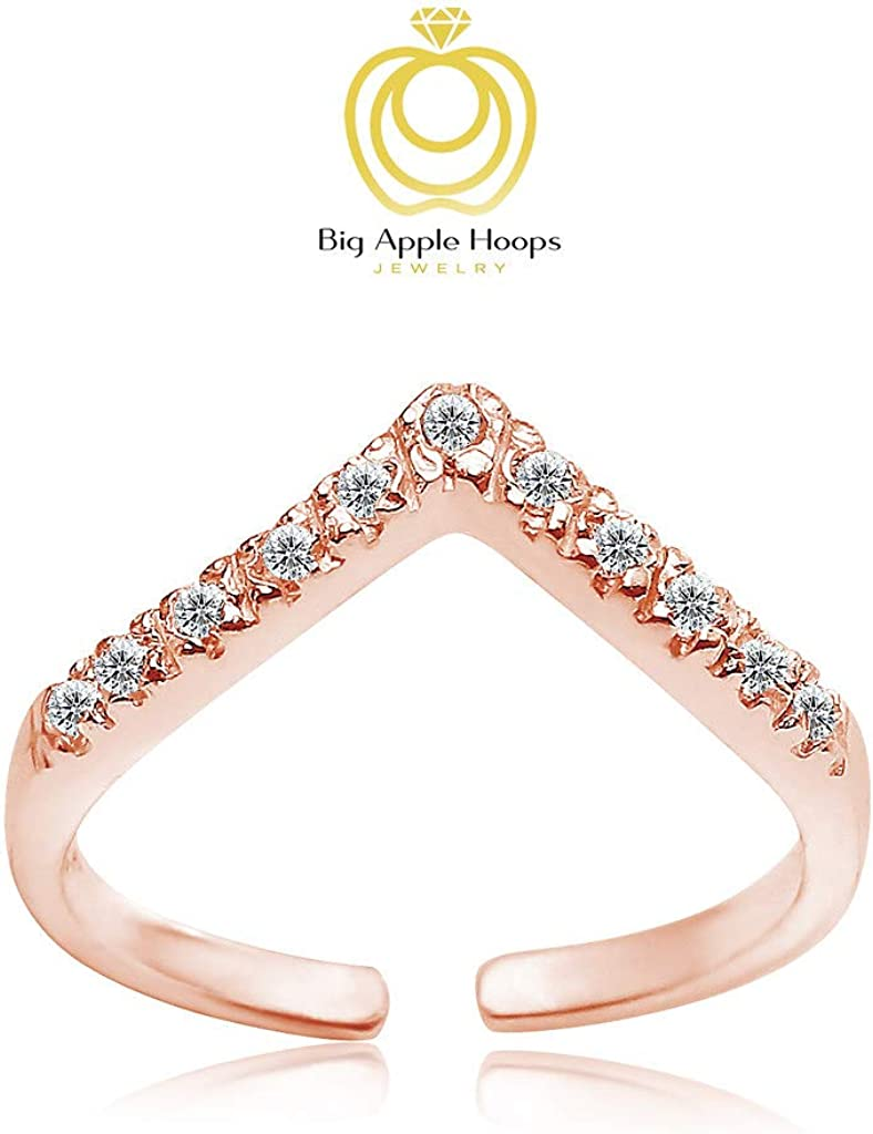Genuine Sterling Silver Cubic Zirconia Birthstone Adjustable Ring Toe Ring