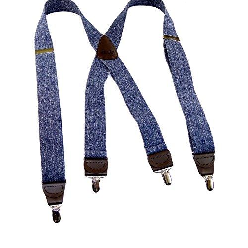 (HoldUp Brand Dark Blue Denim X-back Suspenders with patented No-slip Nickel plated Clips)