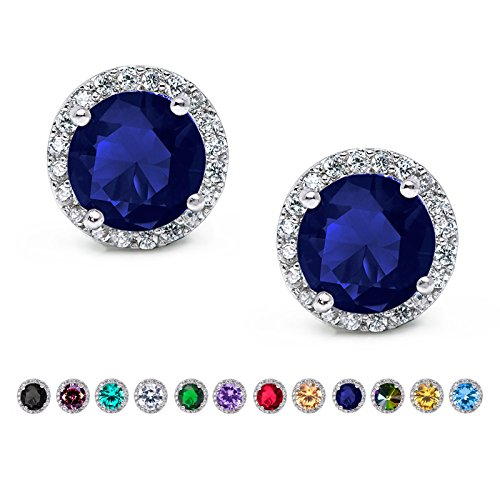 Jewelry Zirconia Cubic Sapphire (SWEETV Cubic Zirconia Stud Earrings, 10mm Round Cut, Rhinestone Hypoallergenic Earrings for Women & Girls, Sapphire)