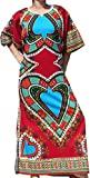 RaanPahMuang Brand Full One Piece Long Afrikan Heart Dashiki Sac Dress, Small, Dark Red