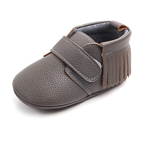 Antheron Infant Moccasins - Unisex Baby Girls Boys Tassels Soft Sole Toddler First Walker Newborn Crib Shoes(Grey,12-18 Months)