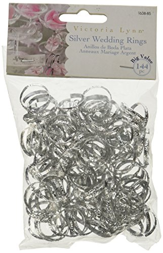 Darice 144-Piece Big Value Wedding Ring, 3/4-Inch, Silver -