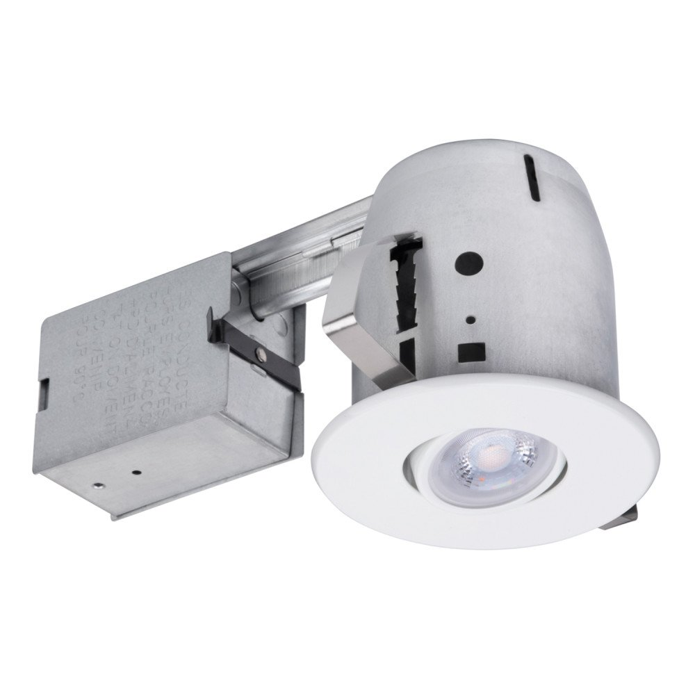 4'' Dimmable Downlight Swivel Spotlight Recessed Lighting Kit, Easy Install Push-N-Click Clips, (1-Pack), White Round Trim, Globe Electric 90440