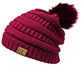 H-6043-6424 Slouchy Beanie Faux Fur Pom - Hot Pink (Pink Pom)