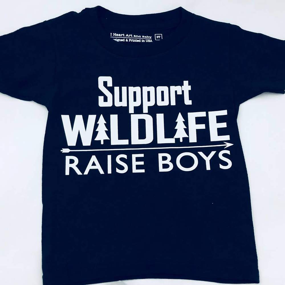 Support Wildlife Raise Boys, Funny Toddler Shirt for Boys, Youth Wildlife Tshirt, Black, Size 3T