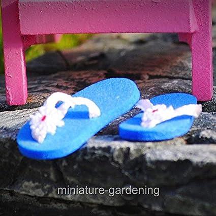 Amazon Com Miniature Fairy Garden Miniature Flip Flops Blue My