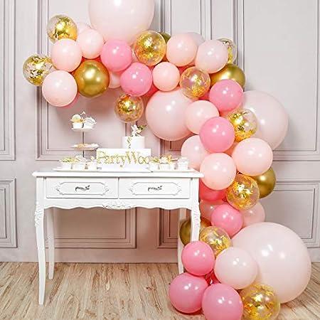 ESPECIFICACIÓN DEL PAQUETE: 12 pulgadas globo rosa pastel (20 piezas), globos confeti dorado (10 pie