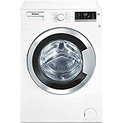 """WM98400SX 24"""""""" 2.5 cu. ft. Capacity Front Load Washer With Stainless Steel Drum LED Digital Display Variable Spin Speed From 600 To 1400 RPM In White with Chrome Door"""
