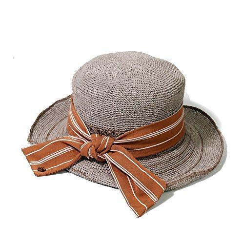 Plegable Verano Sombrero Grey Ala Grande Sol grey Paja Vacaciones De Femenino wT8TxFpY