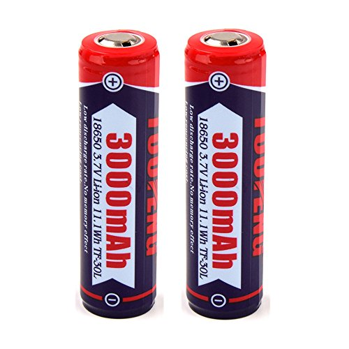 TUOFENG 18650 Battery Flashlight With Seiko Protection Circuit Real 3000mAh Two Rechargeable Button Top High Performance 3.7V Li-ion Batteries (NOT - Electronic Battery Cigarette