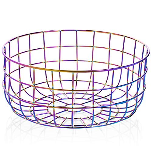 Wire Kitchen Fruit Basket, Rainbow - Colorful Iridescent Bowl for Countertops, Display, Storage, Bread Basket | Organization for Fruits, Vegetables, Snacks | Decorative Serving | Modern Vintage Decor