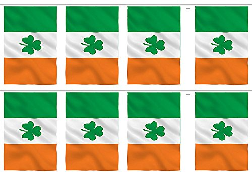 AES Irish Shamrock Ireland Country 12x18 Bunting String Flag Banner (8 Flags) Fade Resistant Double Stitched Premium Penant House Banner -