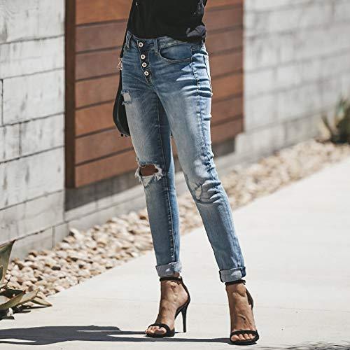 Jeans In Bottoni 2xl Alta Azzurro A Strappati Con Vintage Vita S Pantalone Pelle Hgq0RdHw