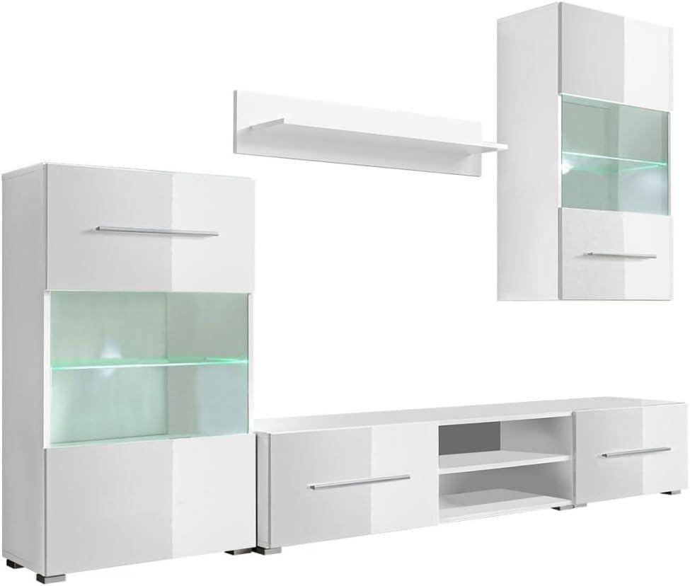 vidaXL Mueble de Pared 5 Unidades Gabinete TV con Iluminación LED Color Blanco